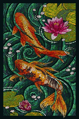 Koi - Paper Mosaic - Lantern Press Poster                                                                                                                                                                                 More