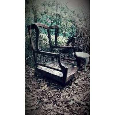 Sill n antiguo vintage madera y hierro un cuerpo for Sillon cama un cuerpo