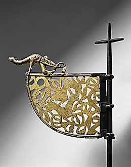 Gilded bronze weather vane. Viking ship from Tingelsted, Norway; 12th century   Lessing Photo Archive  See also 30-01-10/59