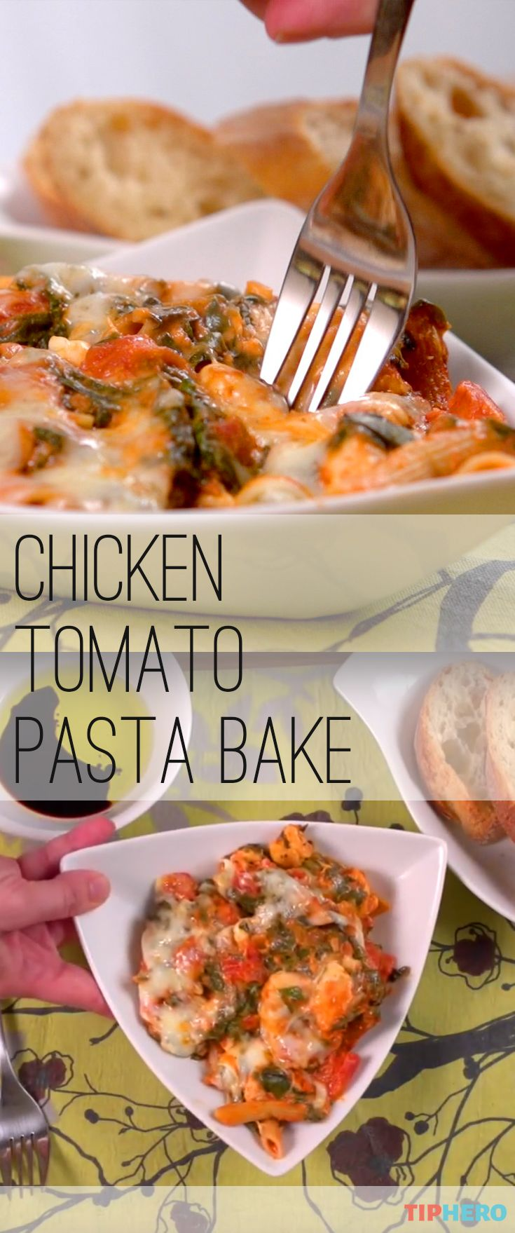 Chicken tomato pasta bake | Recipe | Spinach, Kinds of ...