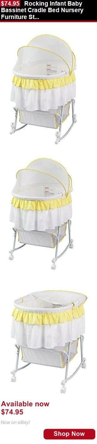 Bassinets And Cradles: Rocking Infant Baby Bassinet Cradle Bed Nursery Furniture Storage Basket Newborn BUY IT NOW ONLY: $74.95