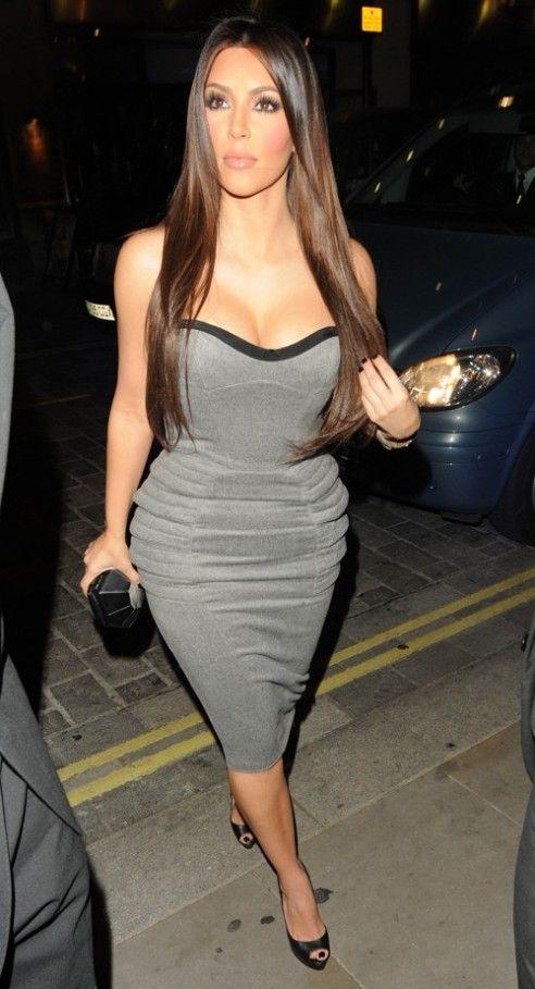 Kim Kardashian London Hotel Cocktail Party Grey Dress