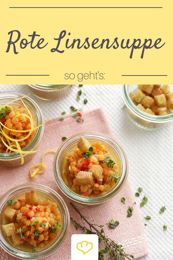 Chili verleiht dieser Suppe mit roten Linsen mit leichte Schärfe - Unbedingt ausprobieren!