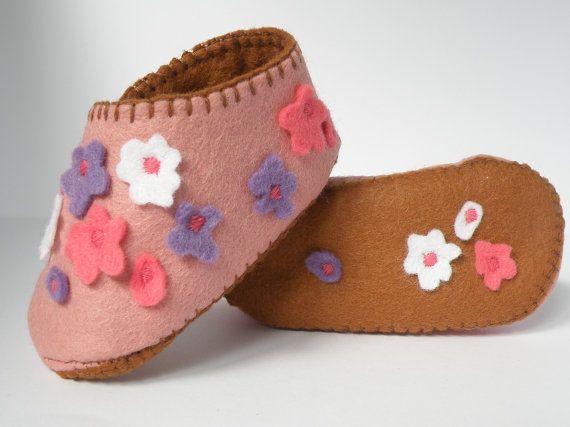 wool felt girls flowering booties