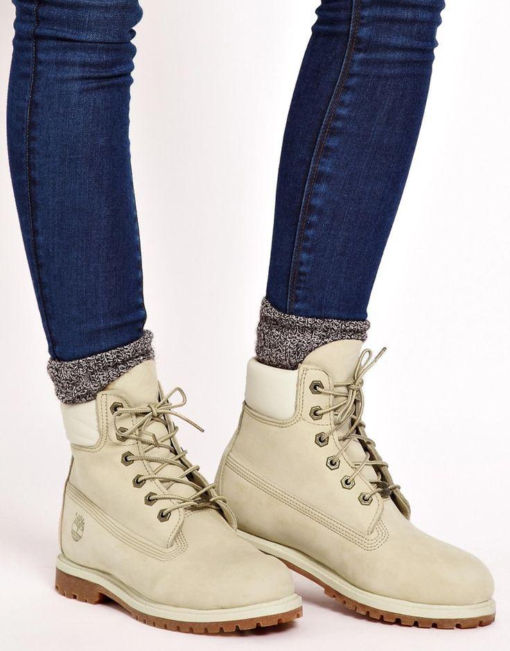 "Timberland 6"" Premium Winter White Lace Up Flat Boot"