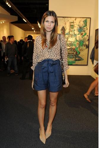 Sheer Print Blouse + Dress Shorts.