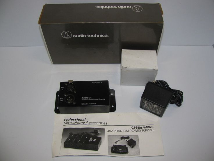 Audio-Technica AT8801 Single Channel 48V DC Phantom Power Supply for Microphone