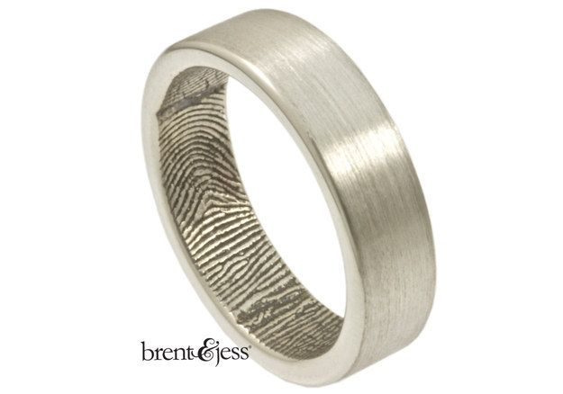 Sterling silver fingerprint ring (customized with an actual fingerprint) Brent & Jess