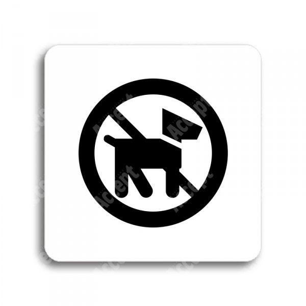 """Piktogram """"zákaz vstupu se psem II"""" - bílá tabulka - černý tisk bez rámečku"""