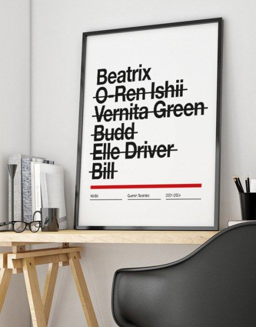 Kill Bill affiche Tarantino Beatrix Uma Thurman Wall Art Print Illustration Helvetica Graphic Design film Cine Ilustración original Tamaño : 30 x 42 cm