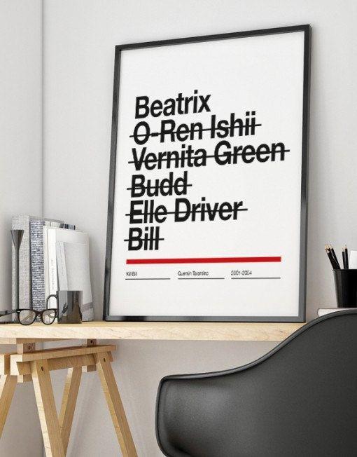 Kill Bill Poster Tarantino Beatrix Uma Thurman Wall Art Print Illustration Helvetica Graphic Design Movie Cine