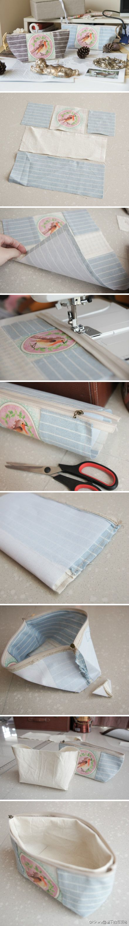 @ Kirara roof Robin tutorials, cotton dyed canvas, handmade robin pattern pencil / makeup bag.  Detailed steps and pieces of cloth size look here http://t.cn/zWqsUro