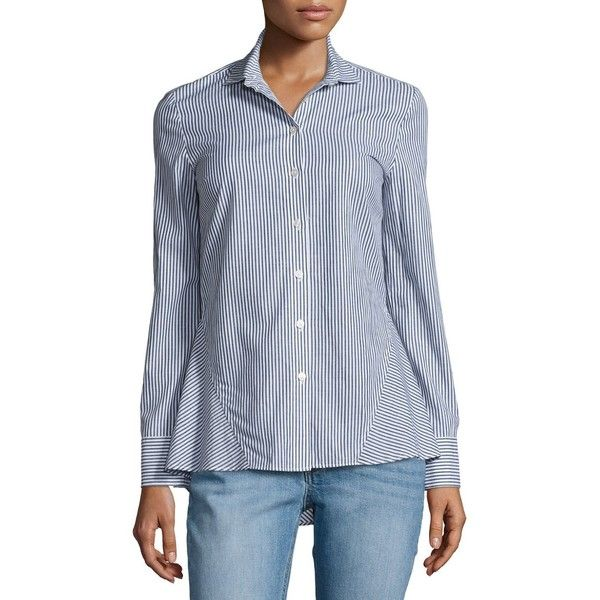 Derek Lam 10 Crosby Striped Long-Sleeve Peplum Shirt ($185) ❤ liked on Polyvore featuring tops, blue pattern, women's apparel tops, blue shirt, blue long sleeve shirt, striped long sleeve shirt, peplum tops and long-sleeve peplum tops
