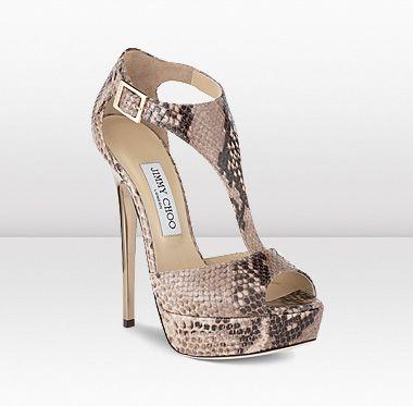 TEASE - Desert Snake Print Leather T-Strap Sandals   Shoes   Jimmy Choo