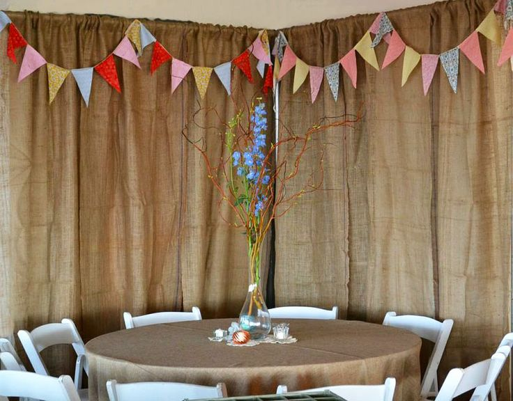 Burlap Backdrop With Colorful Flags Wedding Color Cute