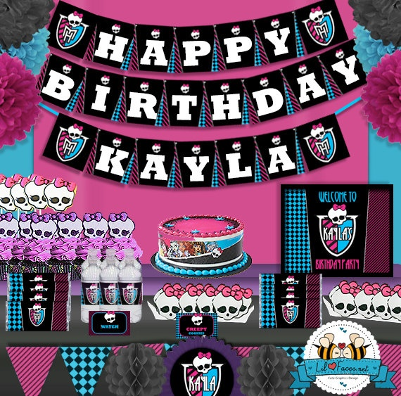SALE  Monster High Birthday Party decoration by LilFacesPrintables