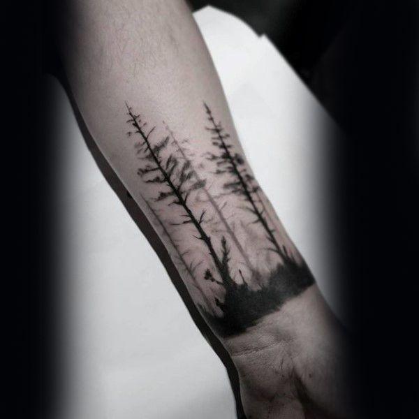 Small Forearm Tree Mens Tattoo Near Wrist                                                                                                                                                                                 More