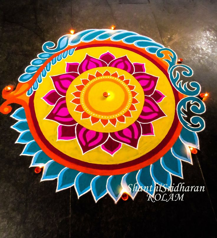 #yellow#pink#blue#orange#circle#mandala#kolam#rangoli
