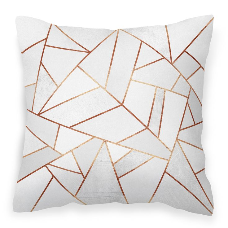Modern white cushion cover for home or bedroom \u0027White Stone \u0026 Copper\u0027 colourful print throw pillow