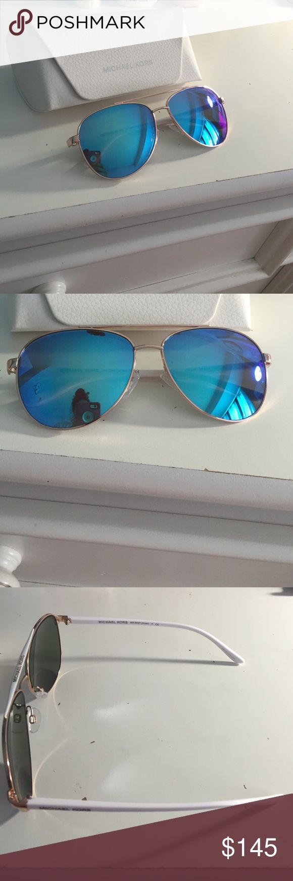 Michael Kors Blue Aviators Sunglasses These are MK 5007 Hvar these are *Brand NEW* never worn comes with MK white case and a Sunglass cleaning cloth Michael Kors Accessories Sunglasses