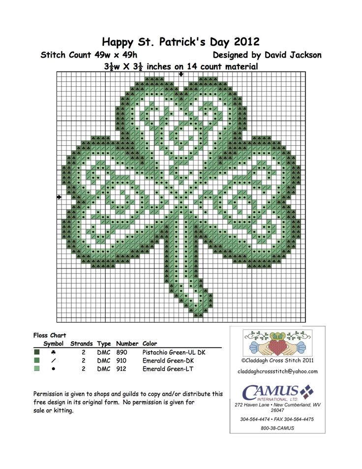 "Celtic Shamrock by Claddagh Cross Stitch via Camus International. ""4th in the set. Permission is given to pin."""