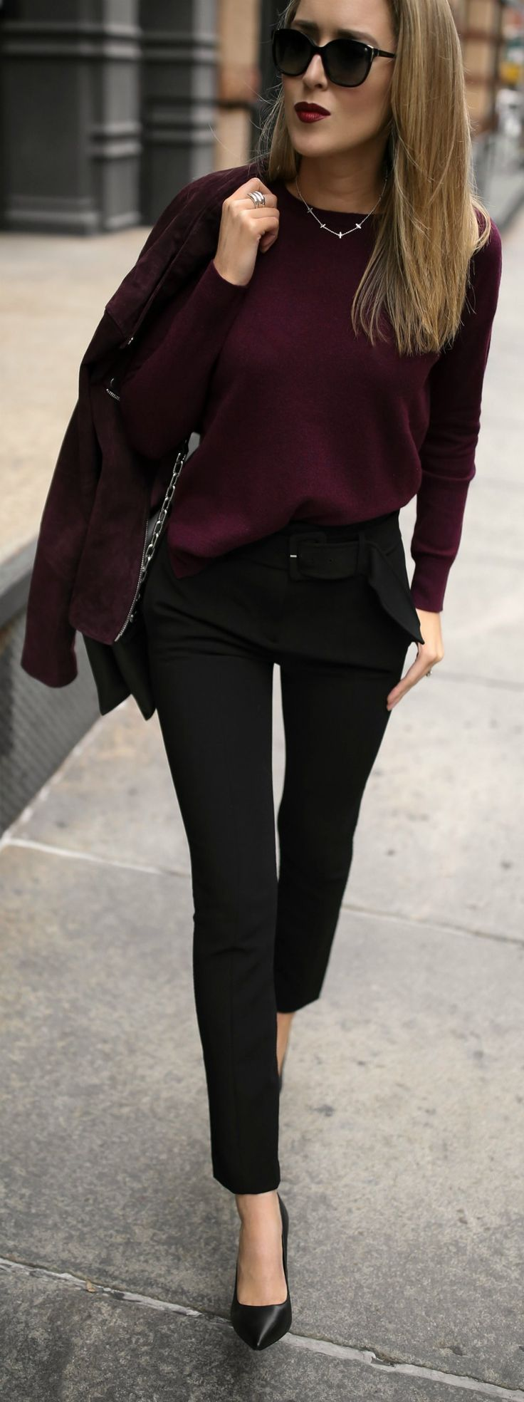 3 FALL STAPLES EVERY WORKING GIRL NEEDS // Suede burgundy moto jacket, cashmere crewneck burgundy sweater, belted cigarette pants, black leather pumps and silver hoop earrings {Theory, Aqua, Bloomingdales, wear to work, office style, casual office, cashmere sweater, fall style, fall fashion}