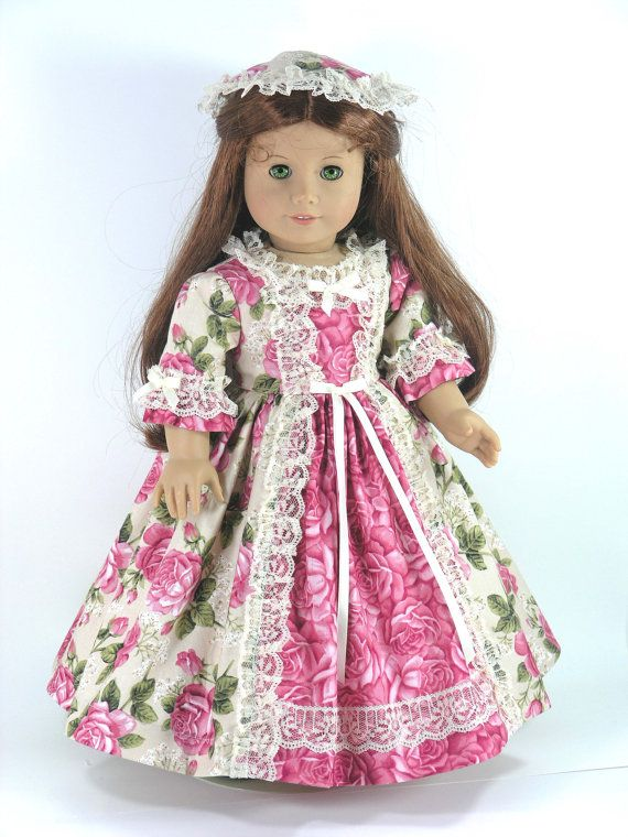 18 inch American Girl Doll Clothes Felicity Dress by LidiDesigns
