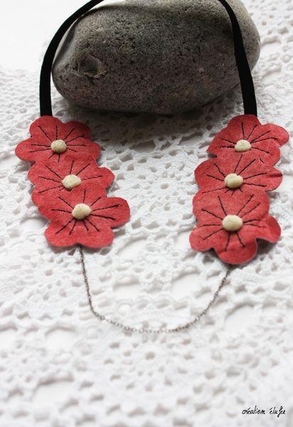 #headband fleur cuir rose de Elufée sur DaWanda.com