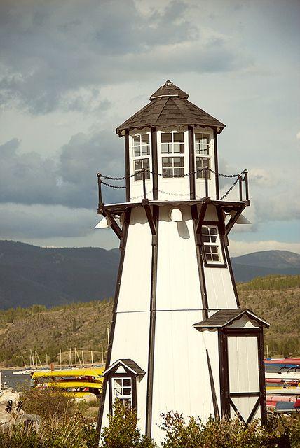 Old wooden, octagonal lighthouse at Frisco Bay Marina. Lake Dillon. Colorado.