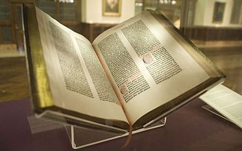 On this day, Feb 23, 1455, Gutenberg finishes his first copies of the Bible. It was the first Western book to be printed with movable type. (The one in the picture belongs to the New York Public Library. It was the first copy, in 1847, to come to the US.)