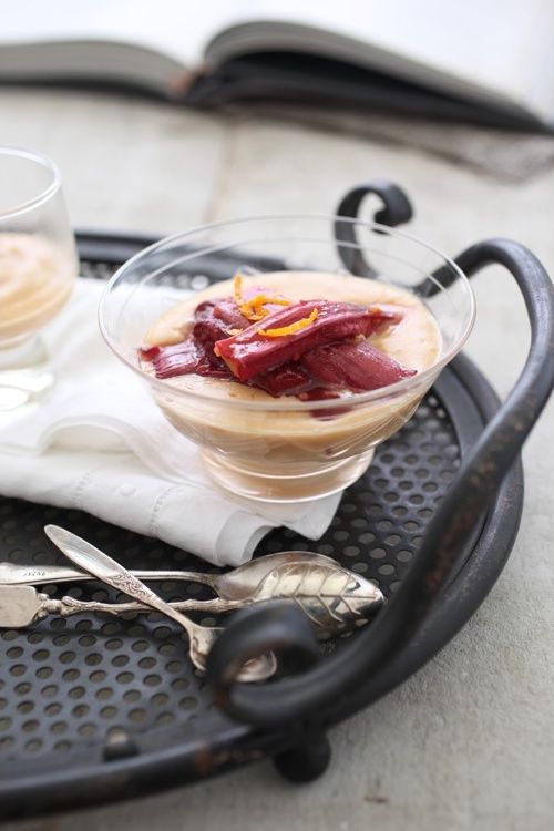 Caramel Custard with Roasted Rhubarb and Orange | Bron Marshall ...