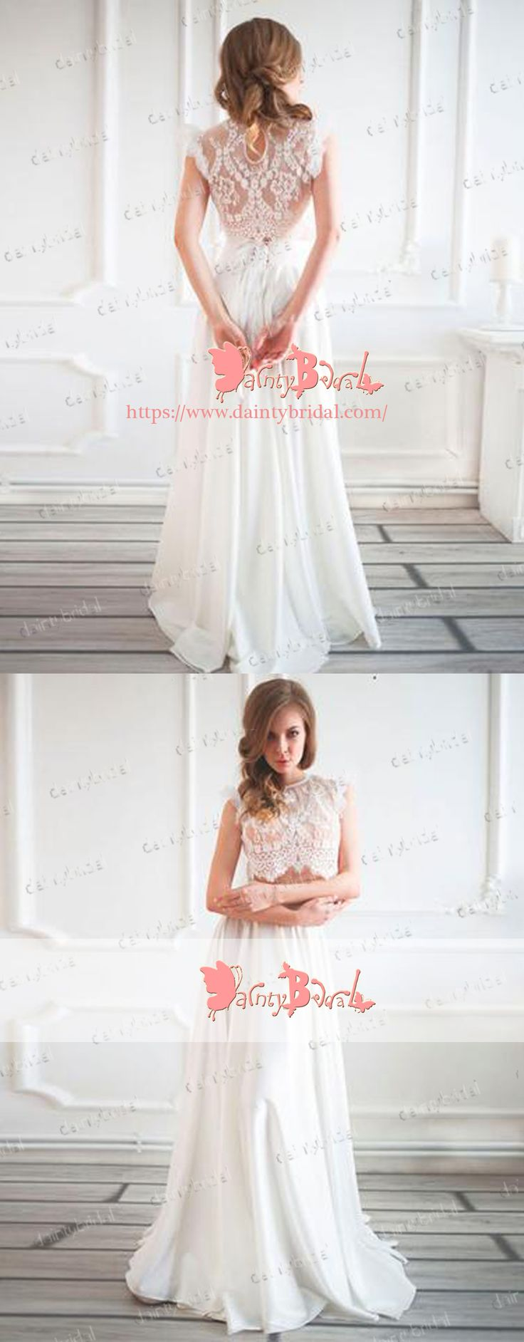 ELEGANT TWO PIECES IVORY LACE CHIFFON A-LINE CAP SLEEVE LONG A-LINE WEDDING PARTY PROM DRESSES. DB1047