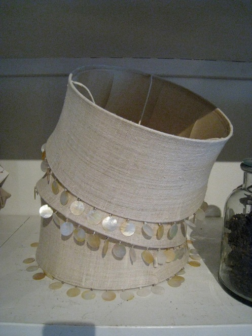 coastal beachy style lamp shades with linen and shells