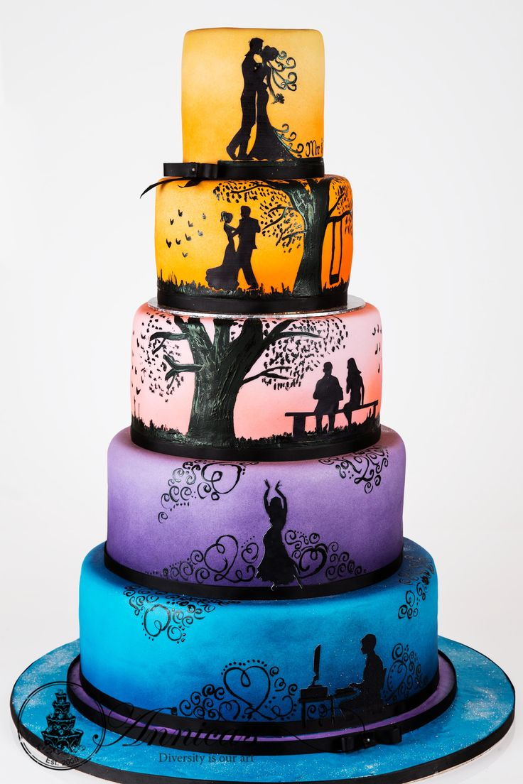 84 best wedding cakes images on pinterest metallic unicorns and rainbow story wedding cake by annicas junglespirit Gallery