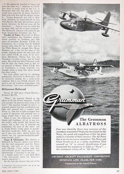 1950 Grumman Albatross Amphibian Airplane original vintage advertisement. The Air Force flies it on air sea rescue operations. The Navy and Coast Guard use it as a utility amphibian. Originally developed for the Navy, the speed and ruggedness of this big plane make it a favourite of all three services.