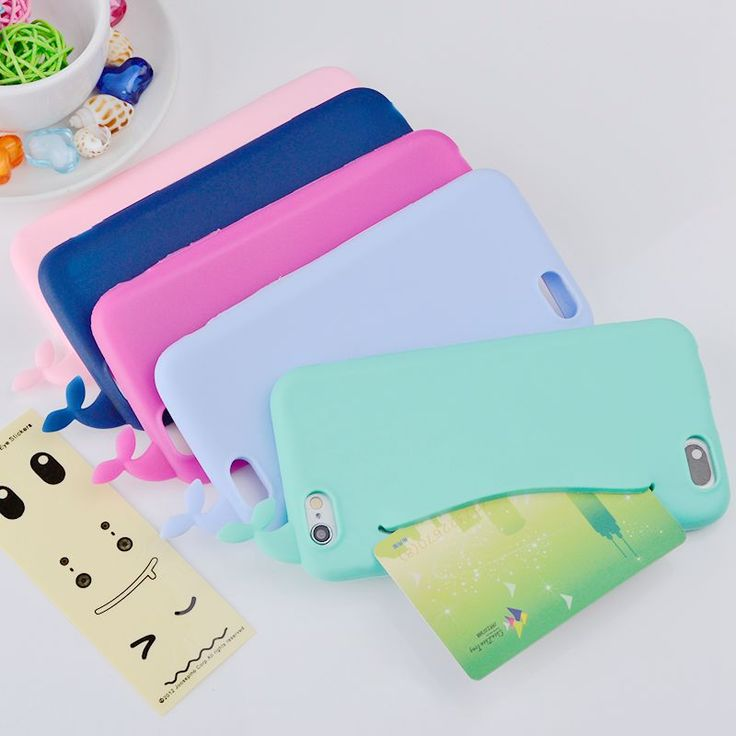 For iPhone 7 Case 3D Cute Whale Silicone Storage Back Cover Headphones Housing For iPhone 7 6 6s 5 5s SE Card Holder Funda Capa