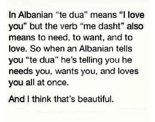 Te dua. I love you in Albanian.