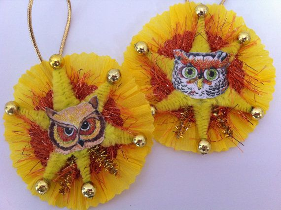 Hey, I found this really awesome Etsy listing at https://www.etsy.com/listing/106224957/halloween-owls-vintage-style-chenille