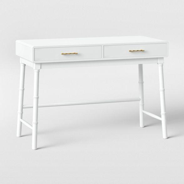Oslari Wood Writing Desk With Drawers White Opalhouse In 2020 Writing Desk With Drawers Desk With Drawers Wood Writing Desk