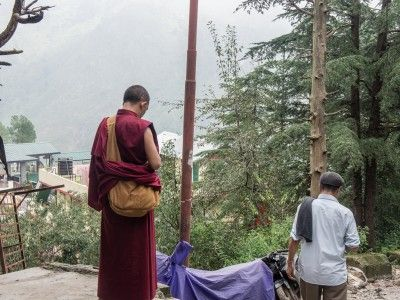 A monk in McLeod Ganj, Dharamsala, India