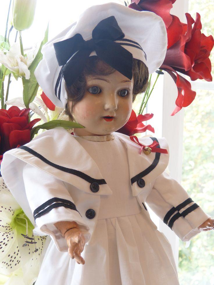 vintage sprayed bisque german doll