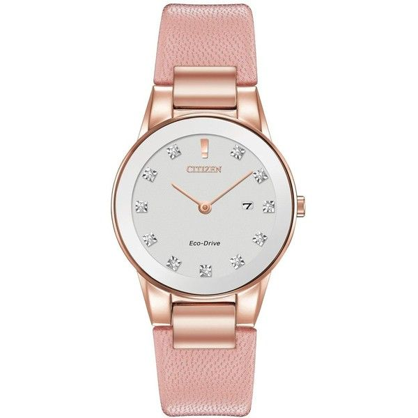 Citizen Citizen Eco-Drive Axiom Diamond Pink Leather Strap Ladies... ($325) ❤ liked on Polyvore featuring jewelry, watches, sparkly watches, citizen watches, imitation watches, holiday jewelry and diamond jewellery