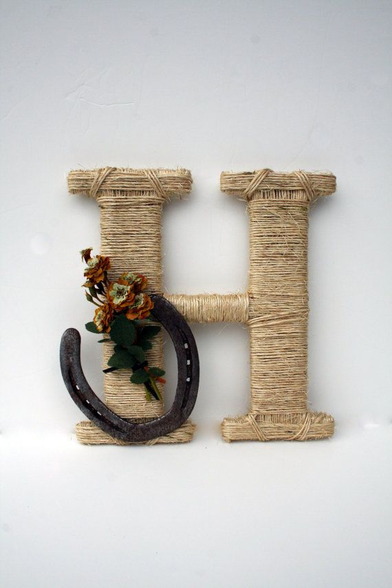 """M"" for the front door!!! Rustic Wrapped Letter H Country decor Twine by DreamersGifts, $30.00"