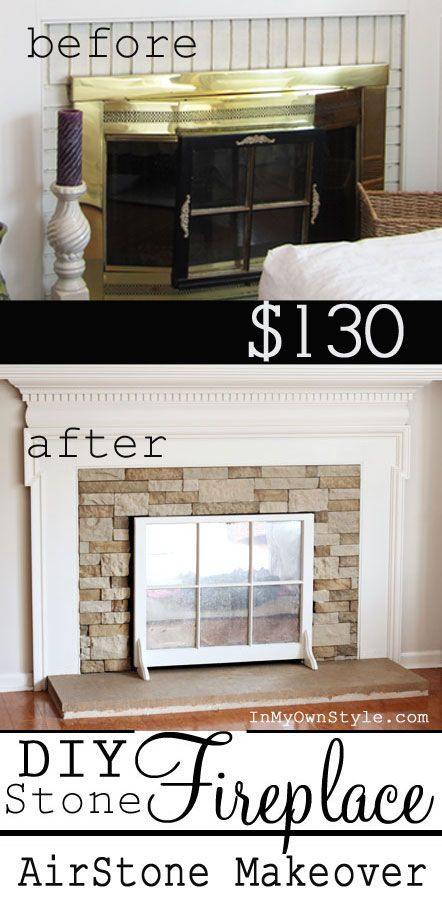 How to make over an ugly fireplace love the cover up--an old window with a mirror.