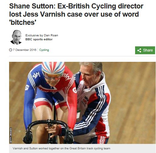 """#British #Cycling found its former technical director Shane Sutton guilty of using sexist language towards cyclist Jess #Varnish - despite clearing him of eight of nine charges against him, #BBC Sport can reveal. Sutton was found to have used the word """"bitches"""" to Varnish, but claims he used other offensive and discriminatory language were not upheld. #sports"""