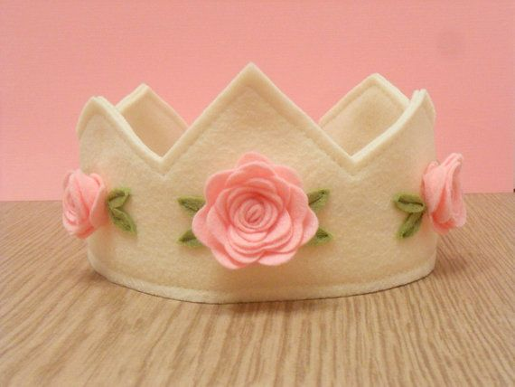 Felt Crown in ivory with pink roses princess by pixieandpenelope