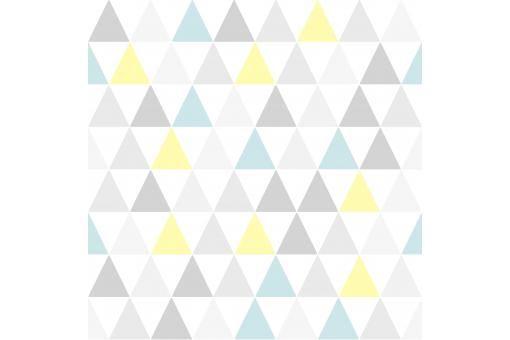 Papier Peint Graphic Triangle Jaune Bleu - Papier Peint Ville Pas Cher
