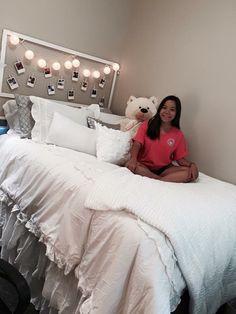 Troy University Dorm Room, cute dorm decor ideas for girls, white silver cozy, photos classy lights pictures, #collegedormroom #dormdecor #collegedormdecor #dormroom #dormgoals #dormideas