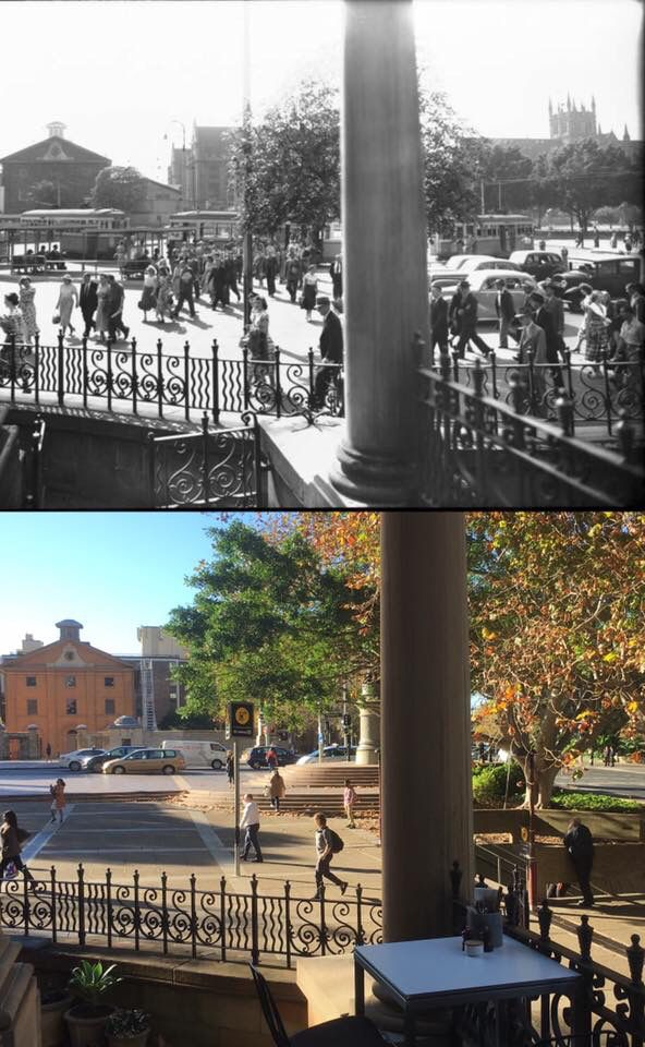 Looking east across Queens Square from St James Church c1950 > 2016. [Frank…