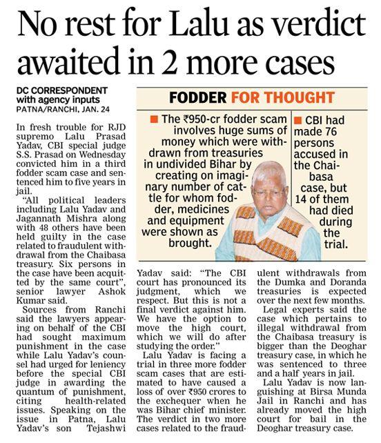 RJD chief Lalu Prasad and another former Bihar chief minister Jagannath Mishra got 5 year jail in 3rd case of fodder scam. #CriminalLawyersinHyderabad        #CriminalAdvocatesinHyderabad #AbhayaLegalServices                       #LegalServicesinHyderabad